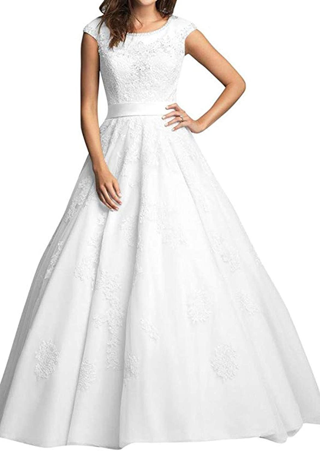WJBRIDE Women's Lace Applique Beaded Wedding Dresses for Bride Long 2019 Cap Sleeves Wedding Gowns with Belt