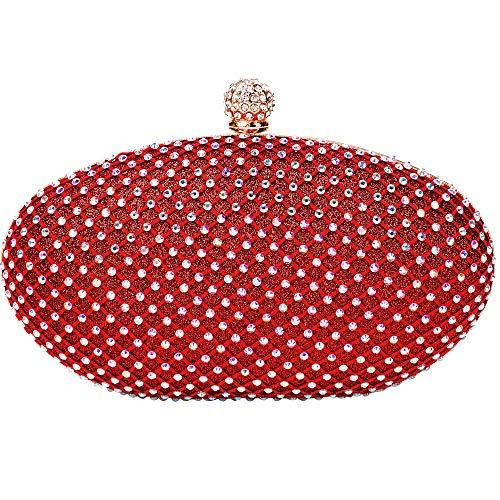 CARIEDO Evening Clutches Bags for Women Bling Glitter Crystal Clutch Beaded Rhinestone Purse for Cocktail Party Handbag (Red1645)