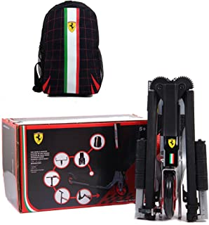 Ferrari Collapsible Two Wheels Scooter with Free Backpack, White