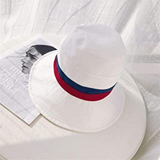 Lei Zhang Japanese Stitching Striped hat Female Miss Xia Tian Wild Dayan Mao hat Sun hat Korean Version Spell Color Tide (Color : White, Size : One Size)