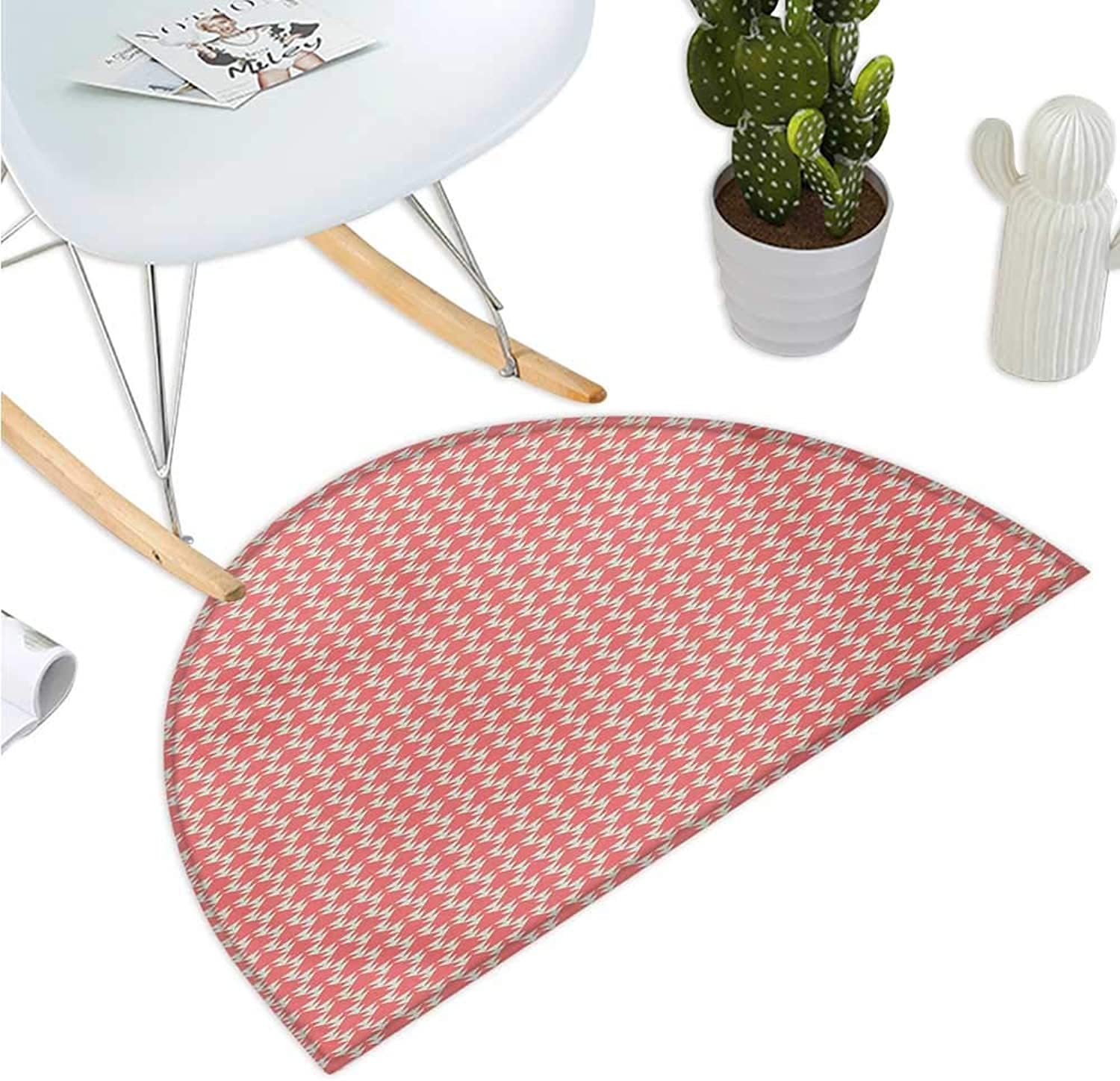 Geometric Half Round Door mats Modern Pattern in Pastel colors greenical Striped Backdrop and Triangles Bathroom Mat H 35.4  xD 53.1  Coral Pale Green