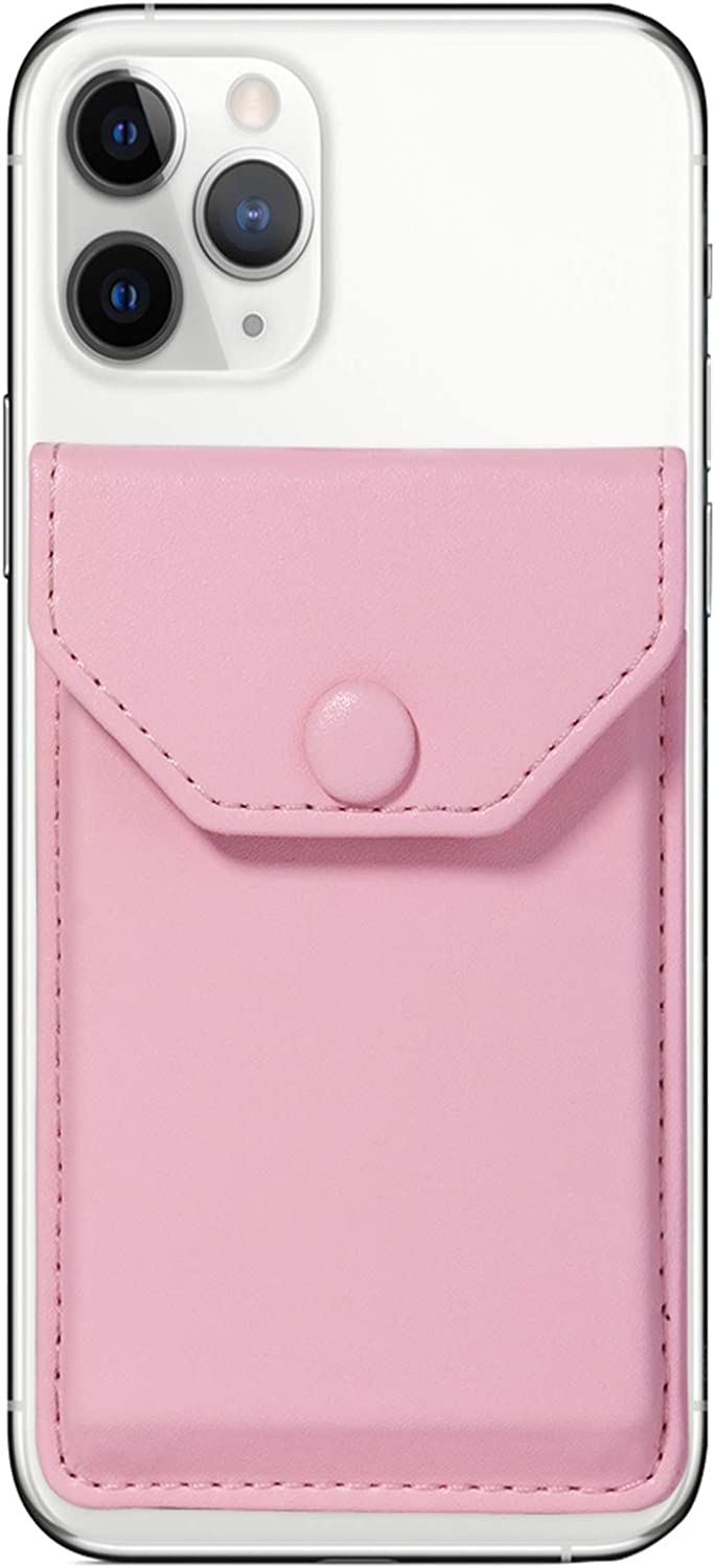 Adhesive Phone Wallet & RFID Blocking Sleeve, YUNCE Cell Phone slim Leather Wallet, Pink Stick On Card holder Universally fits most Cell Phones &Cases, Credit Card Holder Pocket Wallet for Women Girls