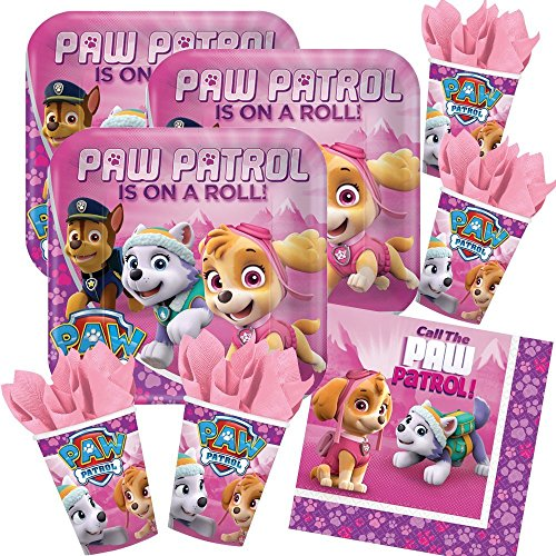 Unbekannt 52-teiliges Party-Set Paw Patrol Pink - Teller Becher Servietten für 16 Kinder