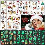 170x Weihnachten Temporäre Tattoos für Kinder, Schneeflocke Weihnachtsmann Schneemann Rentier Klebe Tattoo Karikatur Körperkunst Aufkleber für Mädchen Junge, Erste Feiertag Neujahr Party zubehör Deko -