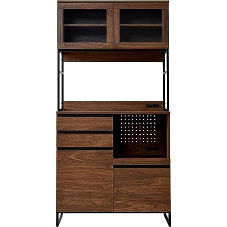 ワイエムワールド キッチン収納 食器棚 幅90 コンセント付き ベティ ウォールナット 58-001