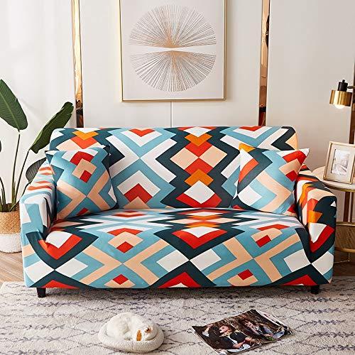 WXQY Geometric Pattern Sofa Cover Living Room Elastic Sofa Cover All-Inclusive Non-Slip L-Shaped Corner Sofa Cover A20 2 Seater