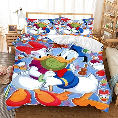 Bettwäsche-Set Donald Duck, 2/3-teilig, mit Bettbezug, Kissenbezüge, Erwachsene, Kleinkinder, Mikrofaser, pflegeleicht (B,135 x 200 cm)
