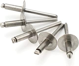 Stainless Steel Pop Rivets 3/16 Diameter (#6) Large Flange Blind Rivets 6-8LF, 3/16