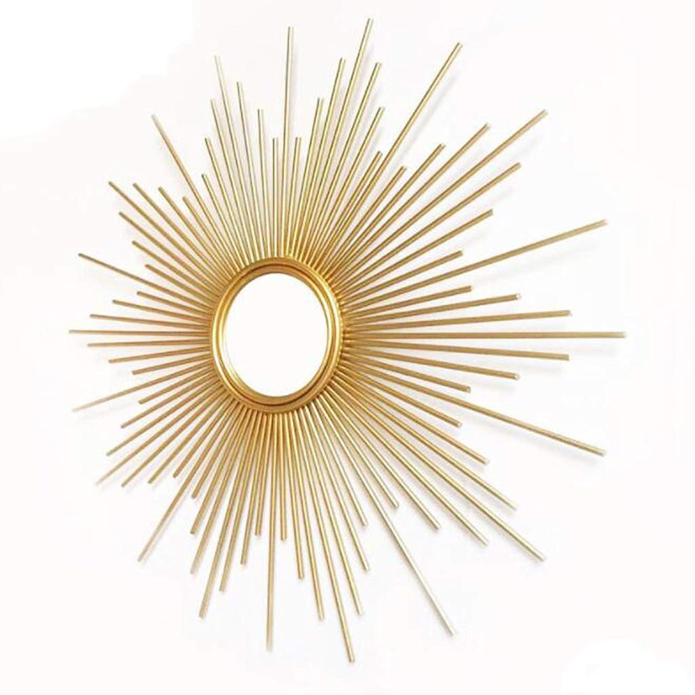 仕える支配的ポインタHUO辉子化粧鏡 ヨーロッパの鍛造アイアンウォールミラーハンギング、屋内ベッドサイドウォールデコレーションホテル三次元のゴールドサンウォールミラー(サイズ:70センチメートル) (Size : 70cm)
