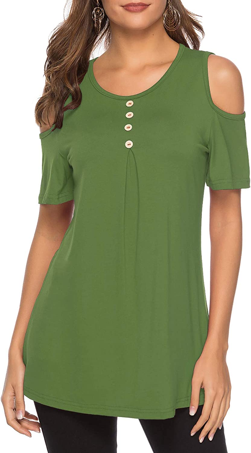 KISSMODA Women's Summer Cold Shoulder Tunic Top Swing TShirt Loose with Buttons Green XXLarge