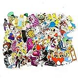 WYDML Alice - Pegatinas de dibujos animados para maleta, monopatín, ordenador portátil, equipaje, nevera, teléfono y coche, 50 unidades