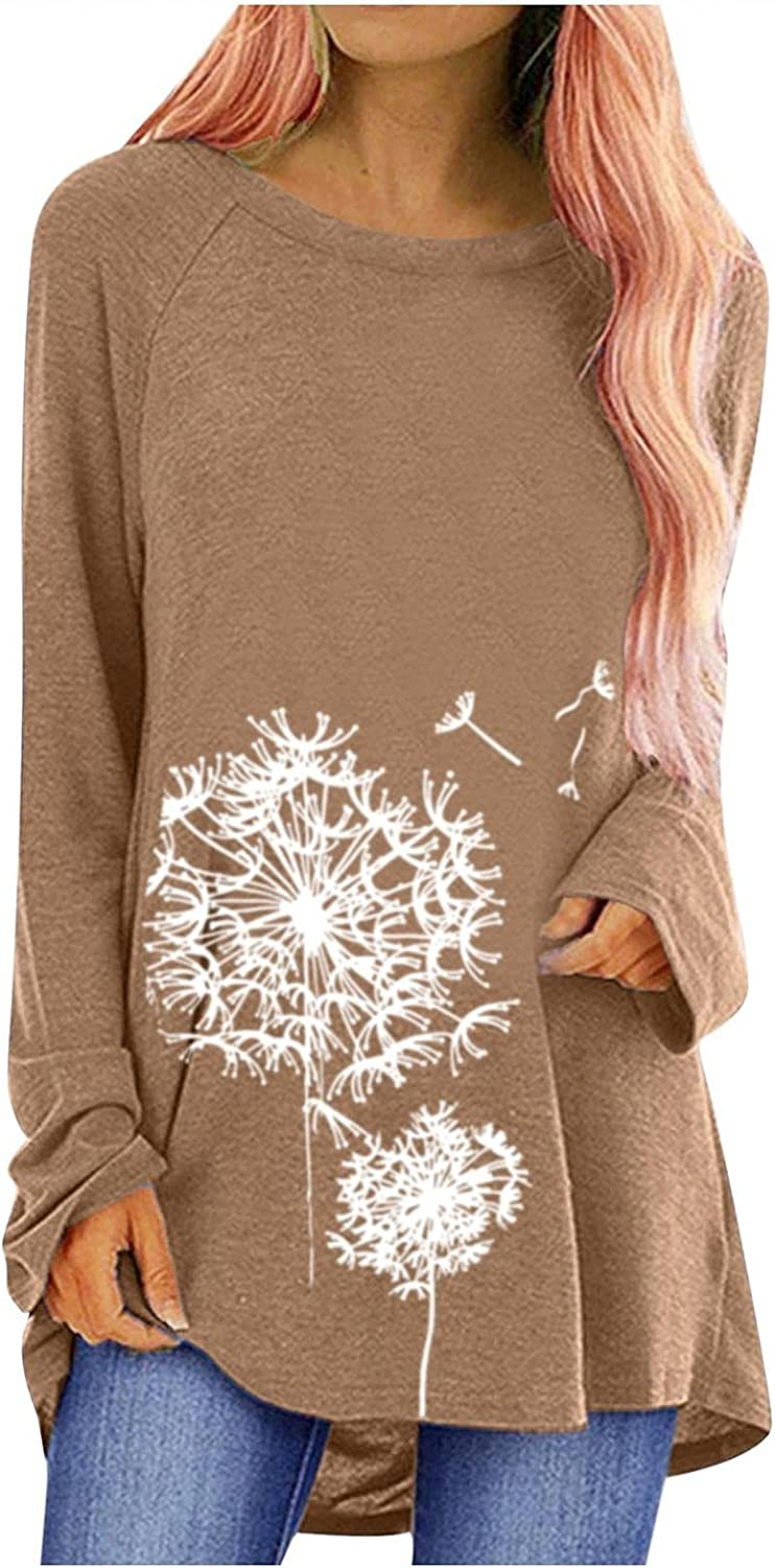 Hotkey Tunic Tops for Women to Wear with Leggings, Womens O Neck Long Sleeve Tops Dandelion Print Pullover Blouse Sweatshirt