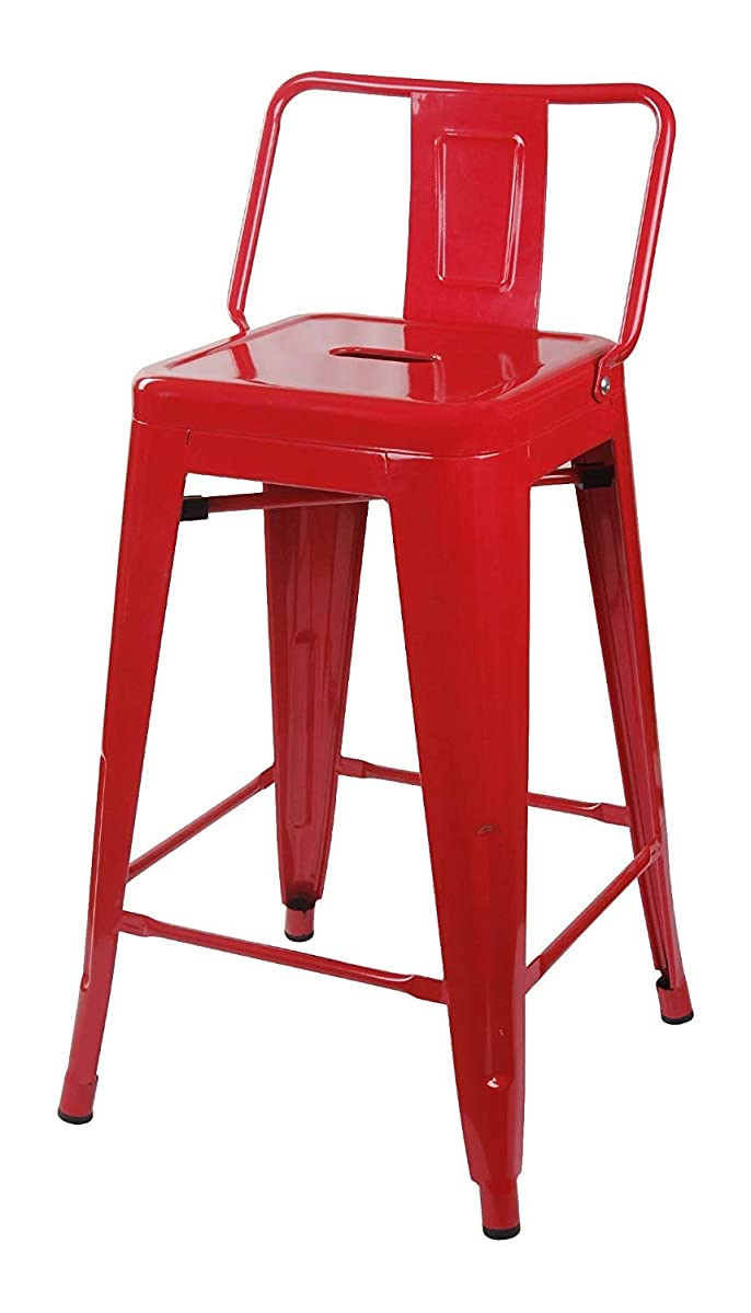GIA 24-Inch Low Back Stool with Metal Seat, Red, 2-Pack