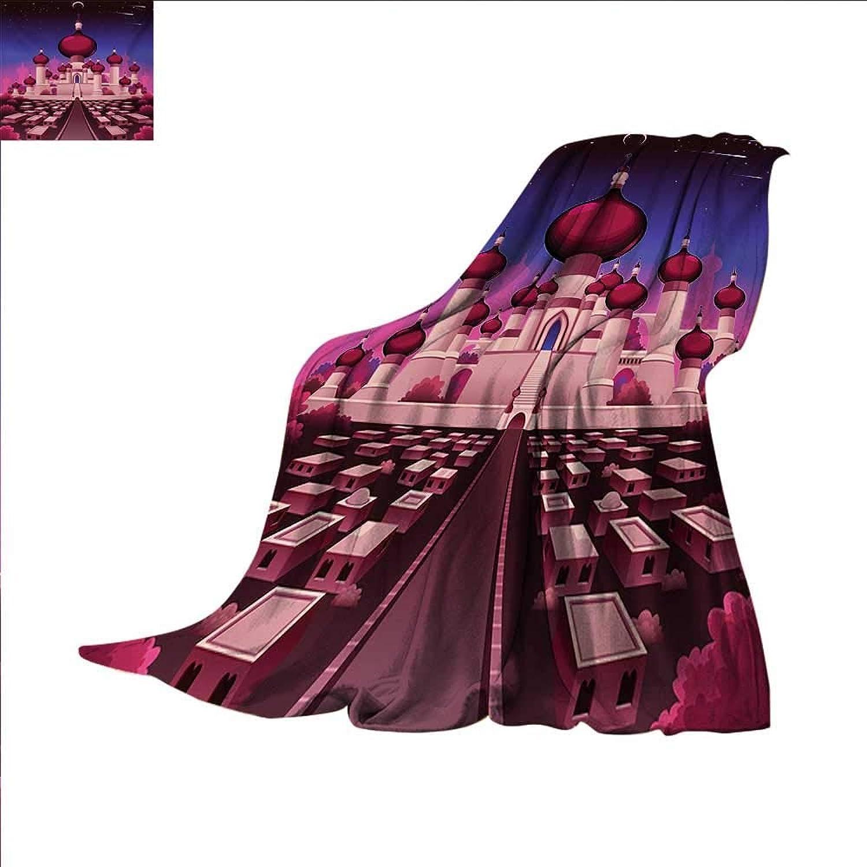 Fantasy Throw Blanket Arabian Castle at Night Oriental Fairy Tale Palace Landscape Illustration Velvet Plush Throw Blanket 60 x 60 inch Indigo Magenta Pink