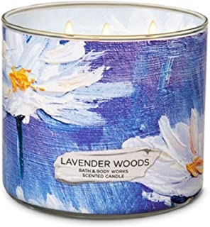 Bath and Body Works White Barn Lavender Woods 3 Wick Candle 14.5 Ounces