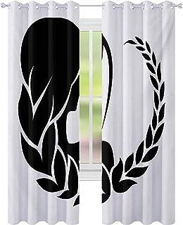 Brusreducerande fönsterdraperier, baksidan av kvinnans huvud med horoskop jungfrufrisyr monokrom design, B 52 x L63 mörklä...