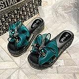 Chanclas Mujer Baratas,Mujer con Zapatillas Frescas De La Moda De La Moda, 2021 Nuevo Muffin De Verano Cuesta Abajo Gruesa con Playa Antideslizante-UE 39 (245mm / 9.65')_Verde