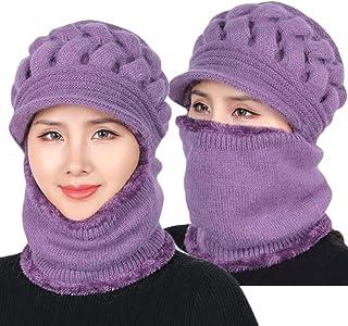 قبعة صغيرة للنساء مبطنة بالصوف الصناعي، مجموعة قناع وشاح قبعة شتاء، قبعة شتوية للنساء، قبعة من منتصف العمر وقدم دافئ للأذنين
