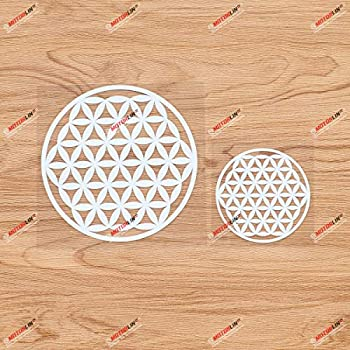 Sacred Geometry Flower of Life Vinyl Decal Sticker - 2 Pack White 3 Inches 5 Inches - No Background for Car Boat Laptop Cup