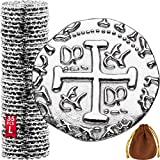 Metal Pirate Coins - 35 Large Silver Treasure Coin Set, Metal Replica Spanish Doubloons for Board Games, Tokens, Toys, Cosplay - Realistic Money Imitation, Pirate Treasure Chest - Diameter: 1.06'