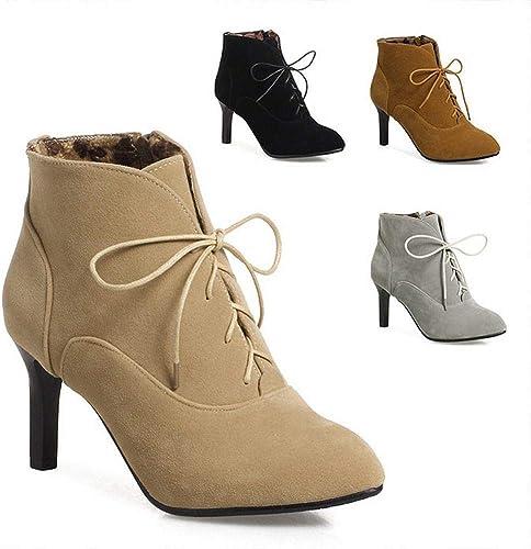 ZHRUI Stiefel para damen - Cordones para el otoño y el Invierno Stiefel Martin Stiefel de Estilete con Punta schuhe de Gran tamaño para damen 36-43 (Farbe   Gelb, tamaño   39)