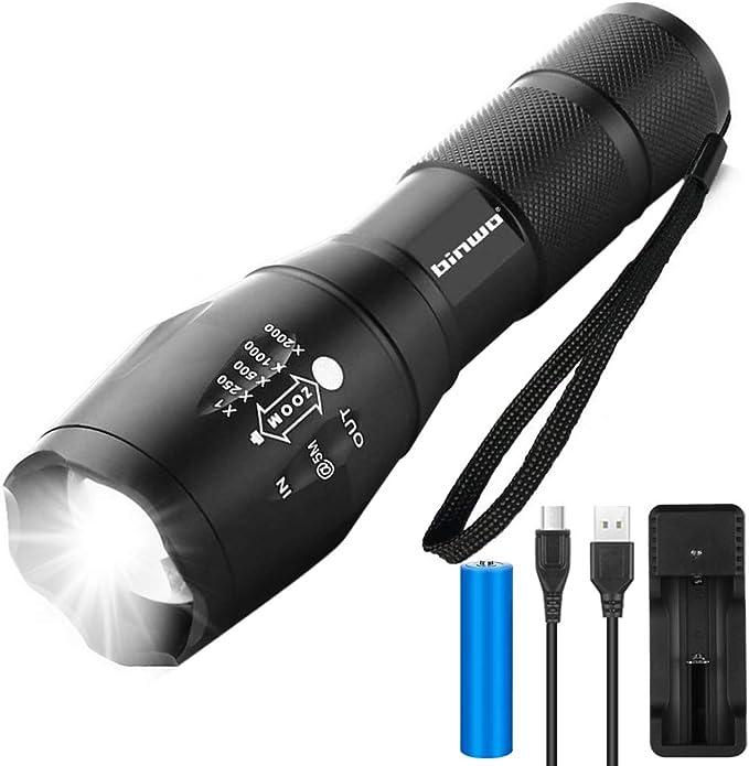 1469 opinioni per Binwo, torcia a LED cree, 2000 lumen, torcia tascabile, molto luminosa
