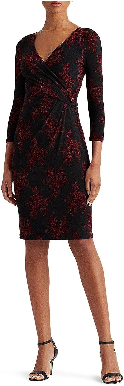 Lauren by Ralph Lauren Womens Dress Sheath Floral Surplice Black 2
