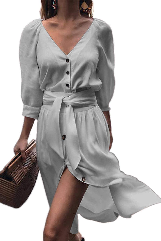 Boosouly Women's Tie Waist Button Down Shirt Dress 3 4 Sleeve Casual Blouse Dress