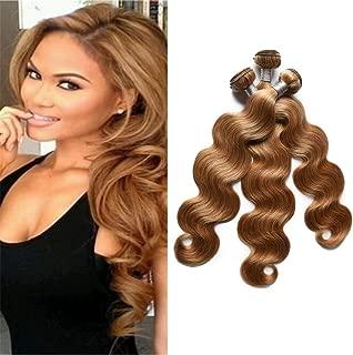 FABA Beauty 9A Grade Human Virgin Hair Bundle Deals Pure 27# Color Body Wave Hair 3 bundles Honey Blonde Body Wavy Hair About 300g 12-24 inch Mixed Length (16.18.18)