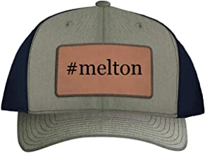 One Legging it Around #Melton - Leather Hashtag Dark Brown Patch Engraved Trucker Hat