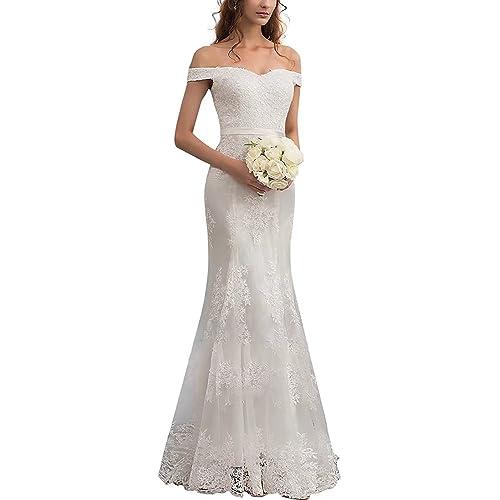 983f99b341d Lily Wedding Women s Off Shoulder Long Sleeve Wedding Dress 2018 Bridal Gown  Floor Length FWD002