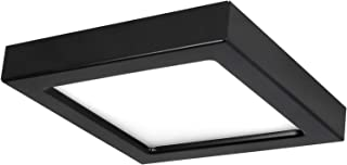 Luxrite 4 Inch Square Slim Recessed LED Flush Mount Ceiling Light, 10W, Dimmable, 5000K Bright White, 600 Lumens, Energy Star, Wet Rated, Recessed Can or Junction Box Installation, Black Trim