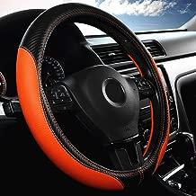 Labbyway Car Universal 15-inch Microfiber Steering Wheel Cover,Anti-Slip,Odorless,Four Seasons Universal (Orange)