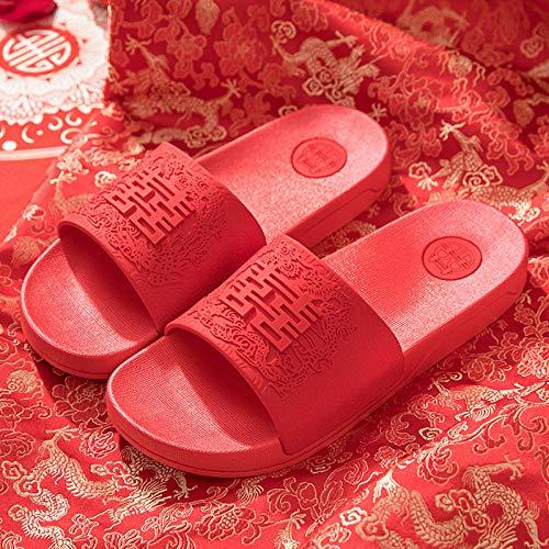 ENLAZY Festivo Rojo Hola Sandalias de Palabra Recién Casados Zapatillas de Boda...