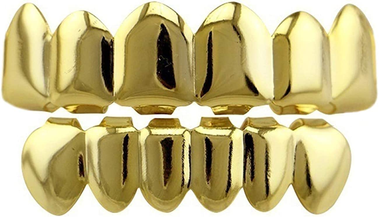 Acfun 24K Gold Plated Hip Hop Teeth Grillz Punk Custom Fit Polished Teeth Grillz Caps Top & Bottom Grill Set with 2 Silicon Molding Bars Removable Grills for Women Men Gift Halloween Party