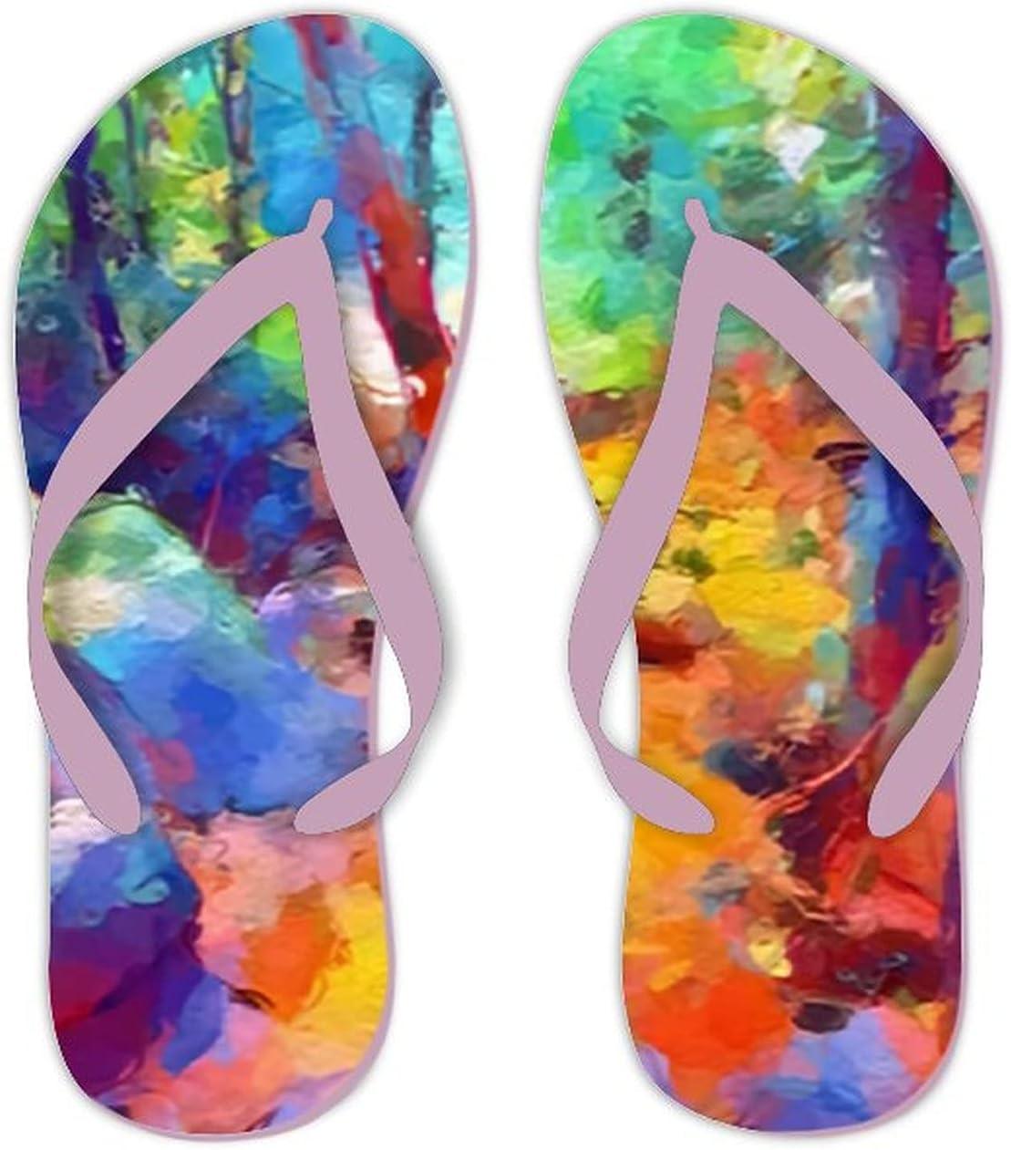UTF4C Summer Flip Flops for Men Women Art Color Landscape Background Soft Lightweight Non Slip Sandals for Shower Beach Pool Bathroom Flat 12.5