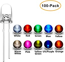 SumVibe 5MM LED Assortment 100Pcs (10 Colors x 10pcs) Light Emitting Diodes Assorted Kit for Arduino Warm White Red Yellow Green Blue Orange UV Pink