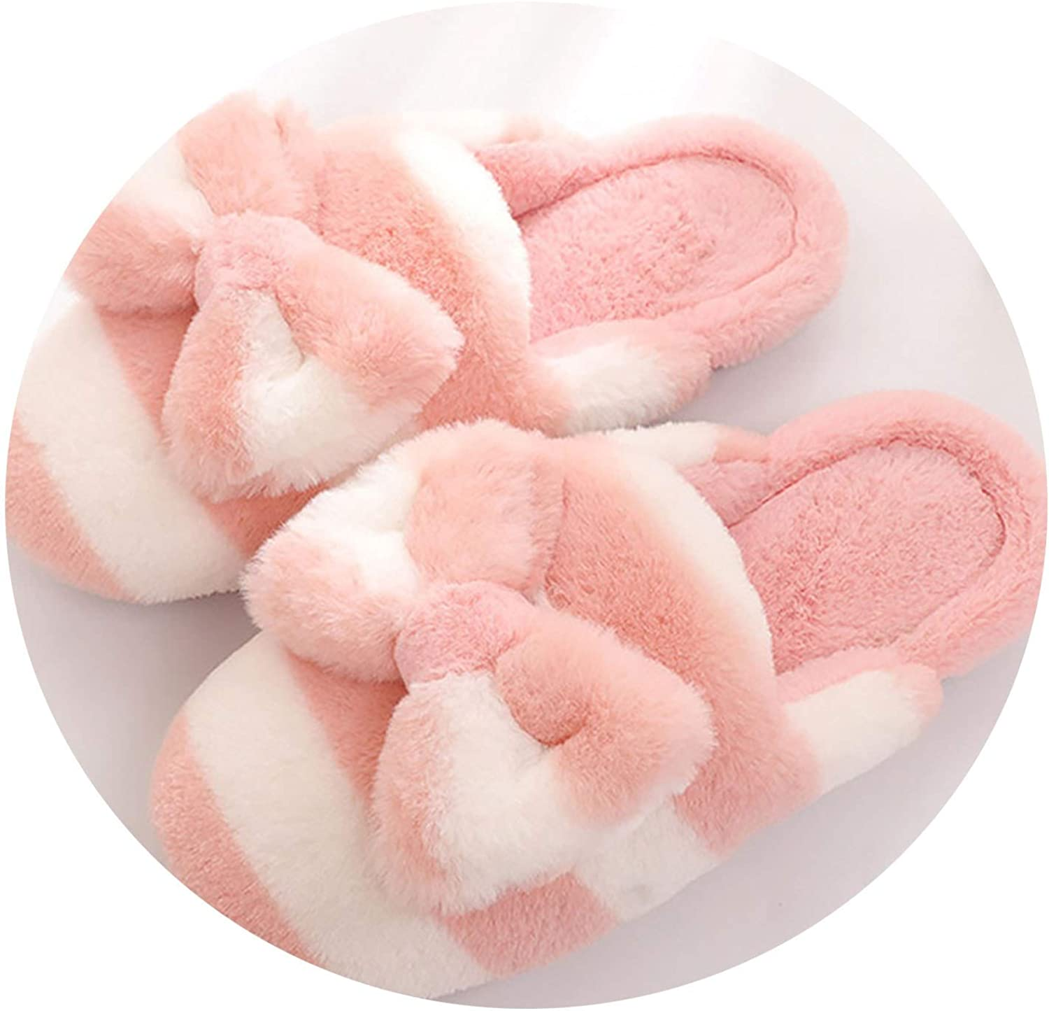 Can't be satisfied Fluffy Slippers Women Butterfly-Knot Striped Slippers with Fur Soft Winter Warm House Slippers,Pink,7.5