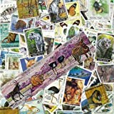 Colección de sellos matasellados con ilustraciones de animales salvajes, 100 sellos diferentes