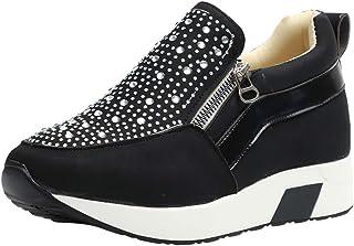 Zapatos Deportivos Plataforma Mujer, Zapatillas Brillantes Calzado con Cremallera Plano Calzado Running Andar Casual Fiesta CláSico Comodos