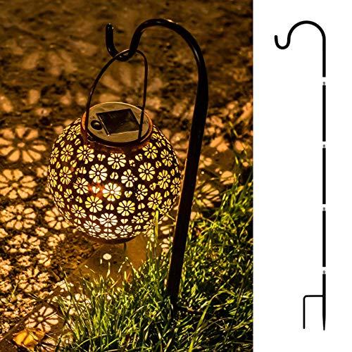 Dream Life-LD Solarlaterne mit Blumenmuster – Runde Outdoor LED Tischleuchte Solar Laterne für Außen, Garten, Terrasse, Balkon – Wetterbeständig, Lange Laufzeit – Aufhängbar & Aufstellbar