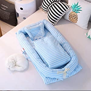 Baby bed Pod Breathable Lounger Cotton Waffle Handmade Reducer 0-6 Months Blue 90x55x15cm