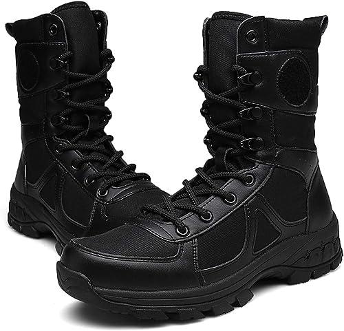 Vdason Stiefel Combate Hombre Ultraligero - Stiefel Militares - Stiefel Jungle Combat - Stiefel Tácticas Resistentes Antideslizante -schuhe de Trabajo y Seguridad,schwarz-EU39