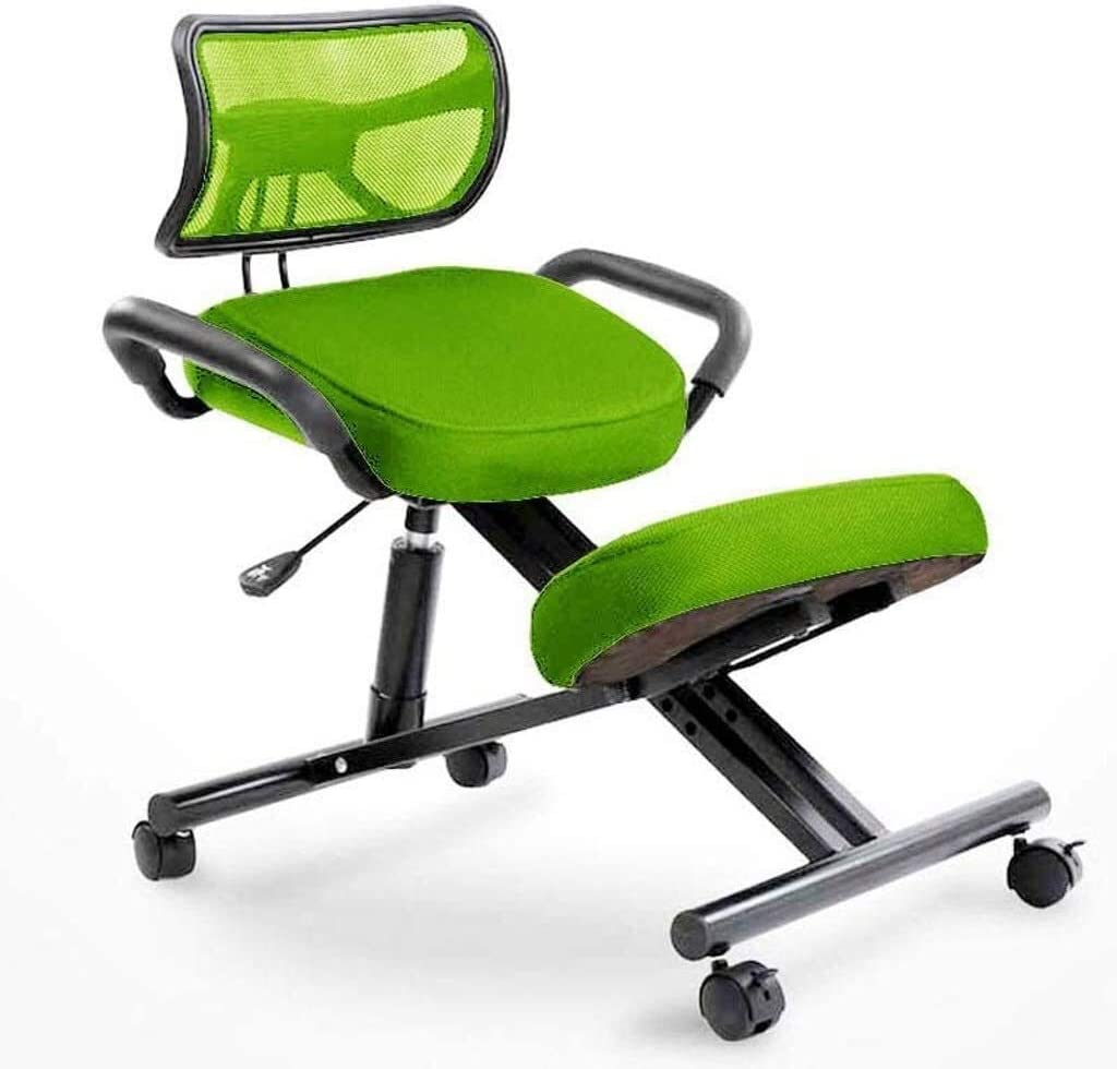 HUXIUPING Genoux Chaise Chaise de Bureau Ergonomique à Hauteur réglable Chaise Fitness Travail Président Correction Posture (Color : Black) Green