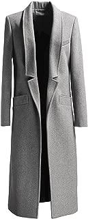 PERSUN Women Gray Woolen Lapel Long Sleeve Longline Coat