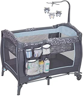 Baby Trend Trend-E Portable Pack and Play Bassinet Baby Nursery Center Play Yard with Wheels, Starlight Blue