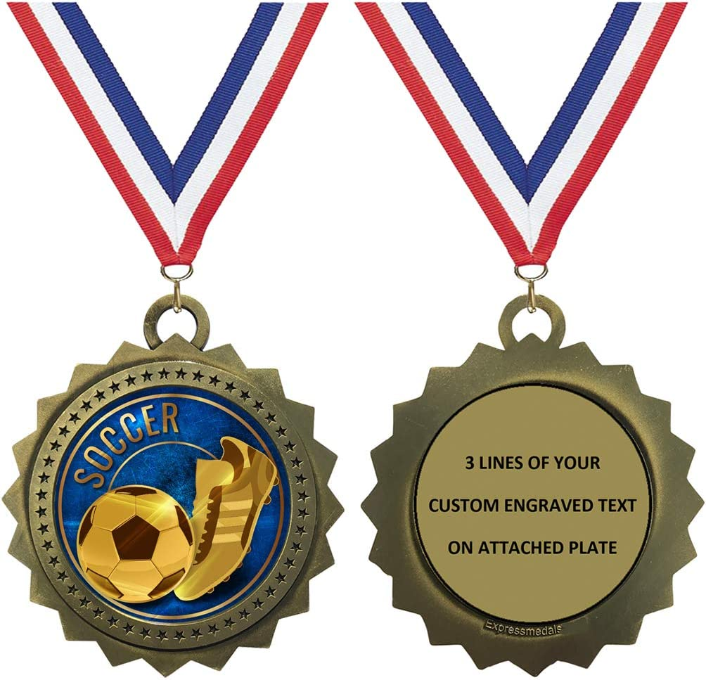 1 to Free shipping 50 Packs Soccer Gold Medals unisex E Free Custom Trophy Award with
