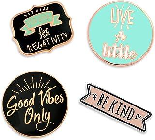 PinMart Good Vibes Motivational Inspirational Enamel Lapel Pin Set