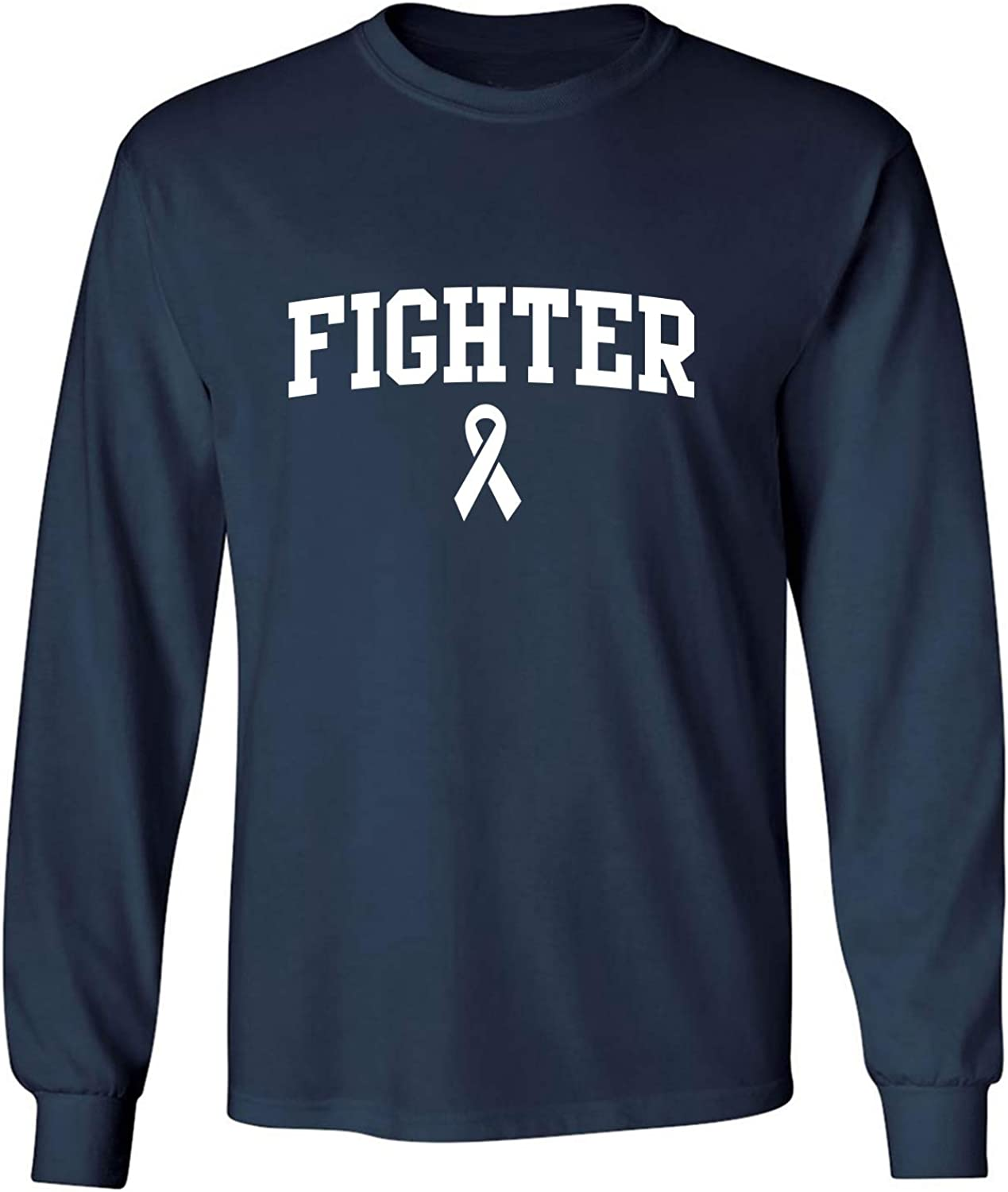 Fighter Ribbon Adult Long Sleeve T-Shirt in Navy - XXXXX-Large