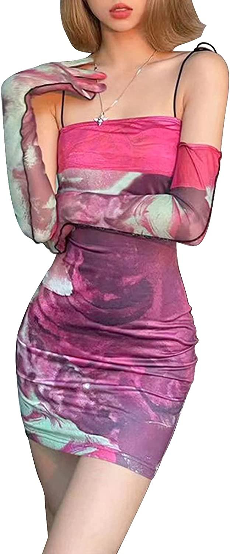 Women's Sexy Spaghetti Strap Mini Dress Novelty Lips Graphic Tube Cami Dress Vintage Clubwear with Gloves
